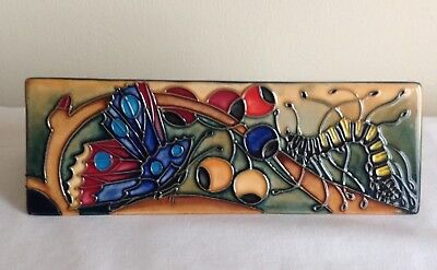 Moorcroft Pottery Tube Lined Butterfly & Caterpillar Moorcroft Pottery Desk Sign