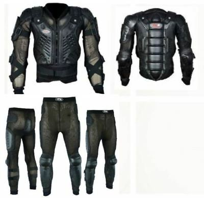 New Black Body Armour Motorbike Motocros Safety Suit With Protective Trouser