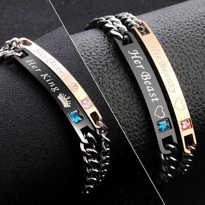 2 Style His Queen Her King Black Rose Gold Color Women's Male Chain Crystal Coup