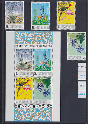 068684 Singapore 112-15 + Block 2 ** MNH Year 1970 Vögel Birds ...