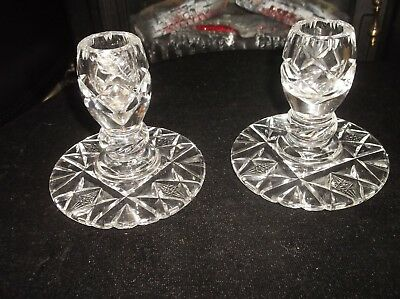 Pair Of Elegant Glass Candlesticks Deep Cut Design Short But Very Heavy 4""