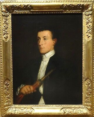 Large 18th Century Italian Portrait Gentleman Zampogna Player Musician Painting