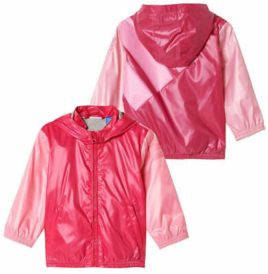 Adidas Originals EQT Baby Girls Toddler Zip Up Windreaker Hooded Jacket Pink