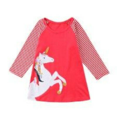 S-158R Toddler Girl Red Unicorn Dress (Ready to Ship from Ohio)(Free Shipping)