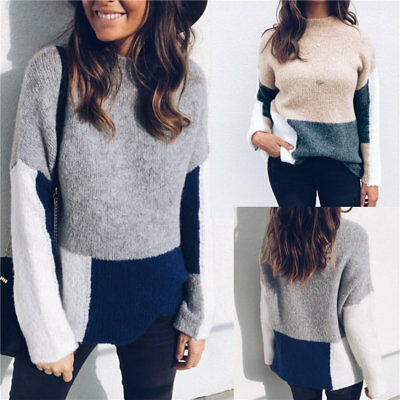Women Patchwork Sweater Pullover Jumper Long Sleeve Knitted Tops Loose Coat Tops