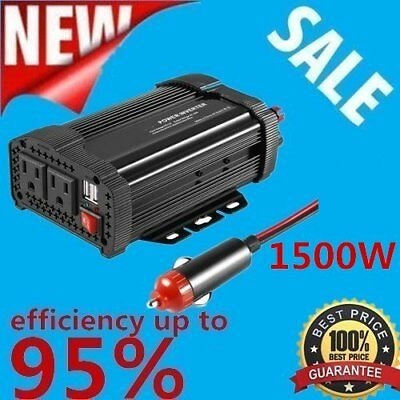 Car Power Inverter 12V DC Battery to 110V AC 1500W Socket Adapter + 2 USB US