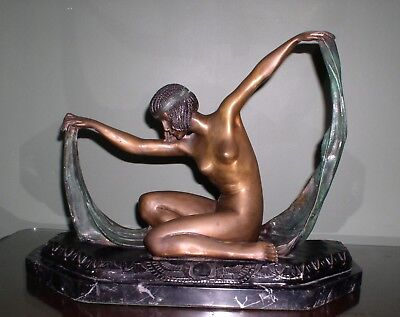 CLAIRE JEANNE ROBERTE COLINET ISIS BRONZE STATUE Art Deco Lady Egyptian Dancer