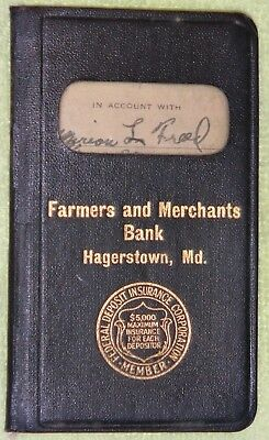 Vintage Bank Savings Book Farmers and Merchants Bank Hagerstown, MD.