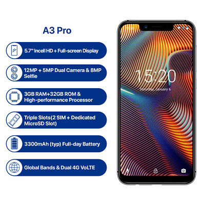 UMIDIGI A3 Pro Global Band 5.7inch 3+32GB Android 8.1 Face Unlock 4G Smartphone