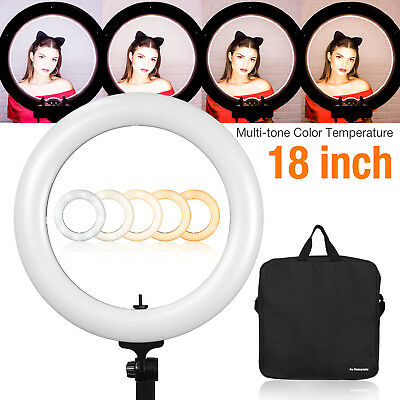 """18"""" Dual-Color Dimmable Ring Light LED Continuous Studio Photo Kit Makeup live"""