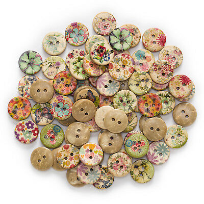 50pcs 2 Hole Printing Round Wood Buttons Clothing Scrapbooking Sewing Decor 15mm