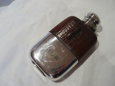 Hip Flask Reptile Skin & Silver Plate Walker & Hall Circa 1890
