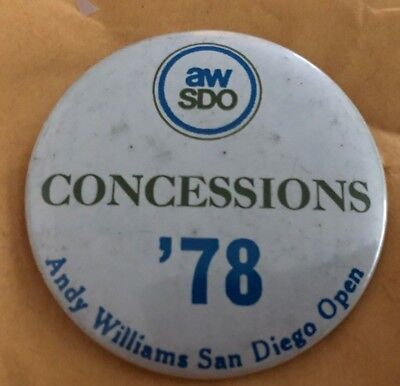 8a080ae378a56 Vintage 1978 Andy Williams San Diego Open Golf Pin Back concessions AW SDO