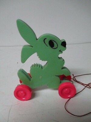 Vintage Hard Plastic Easter Rabbit on Wheels