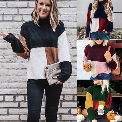 Womens  Long Sleeve Sweater Casual Pullover Loose Fleece Warm Jumper Blouse Tops