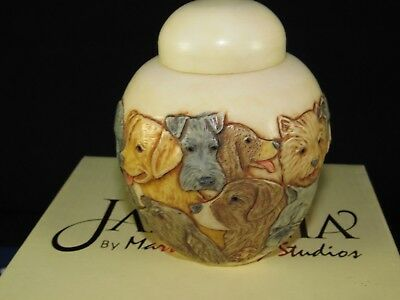 "Jardinia,""Puppy Litter"" Cache pot/Ginger Jar Urn,#JALRHO2,NIB RETIRED M.Perry"