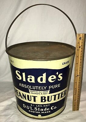 Antique Slades Peanut Butter 21# Tin Litho Pail Can Vintage Country Store Boston
