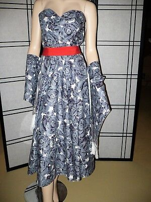 Stunning Vintage 50's Fred Perlberg Beaded Rose Party Dress & Shawl Size S / XS