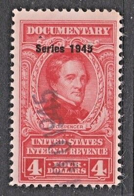US Revenue (Scott R426) 1945 $4 red Documentary Stamp USED