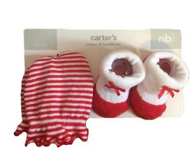 Carter's Newborn NB Baby Girls Mitten & Red White Bootie Set