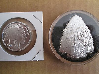 1 1/2 oz .999 Fine bullion silver indian buffalo round bar coin