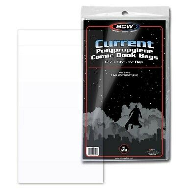 2000 BCW Current / Modern Comic Book Archival Clear Poly Bags - 6 7/8 x10 1/2