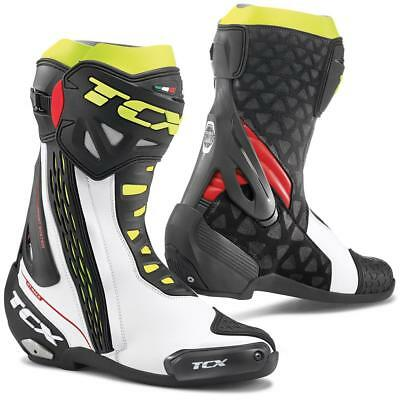 TCX RT-Race mens white / red / yellow motorcycle boots road racing street track