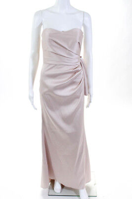 Badgley Mischka Womens Strapless Full Length Bow Back Gown Pink Size 2