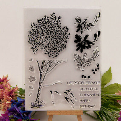 plant Silicone Clear Stamp Transparent Rubber Stamps DIY Scrapbook JR