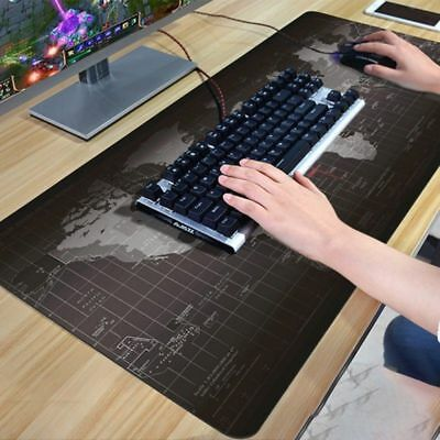 90x40cm Black World Map Extended Gaming Wide Large Mouse Pad Desk Mat Big Lot IB