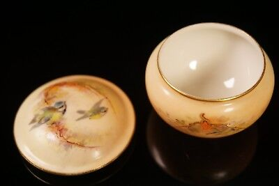 Early Royal Worcester Hand Painted Birds Blush Porcelain Trinket Box