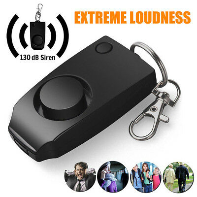 Black Anti-rape Alarm Loud Alert Attack Panic Keychain Safety Personal Security