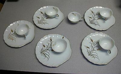 Lefton China 2769N Wheat Pattern White w Gold Snack Plates and Cups Set of 5