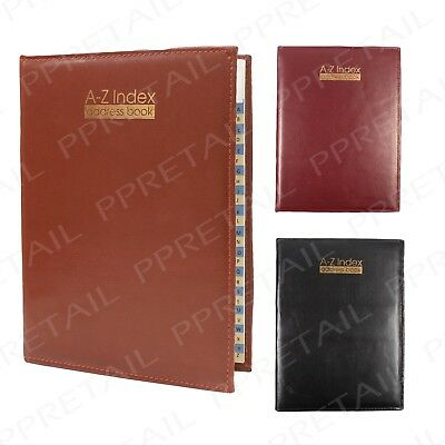 High Quality Padded ~LARGE A-Z INDEX ADDRESS BOOK~ Leather Look Telephone Diary