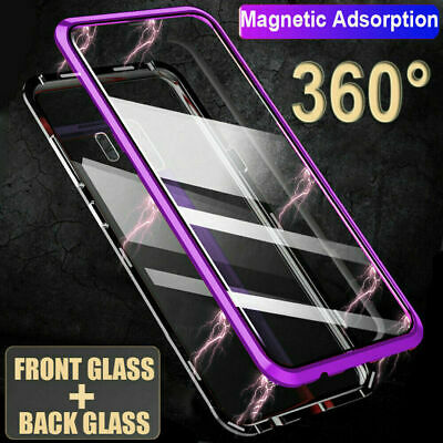 360°Magnetic Clear Glass Case Front+Back For Samsung Galaxy S10 S9plus/Note9