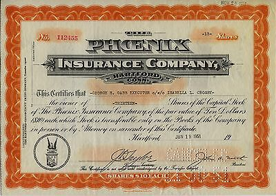 Phoenix Insurance Company Capital Stock Certificate 13 Shares 1951