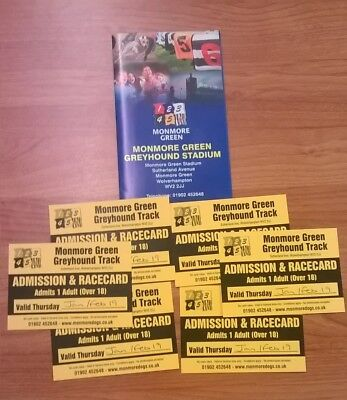 Monmore Green Greyhound Racetrack tickets x6 (Jan/Feb 2019)