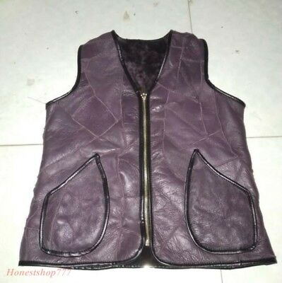 Vintage Sleeveless Wool Fur Lined Men Real Sheepskin Thick Warm Waistcoat Vests