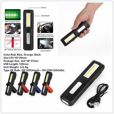 Rechargeable COB+LED Hand Torch Lamp Magnetic Inspection Work Light VP