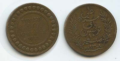 G0135 - Tunesien 10 Centimes AH1308-1891 A KM#222 French Protectorate Tunisia