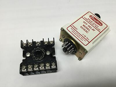 Dayton 6X153C Solid State Time OFF Delay Relay, 0.1-10 Sec, 120VAC w/Socket