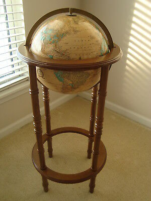 """Vintage 12"""" Cram's Imperial World Globe Mountain Relief 36"""" Powell Stand"""