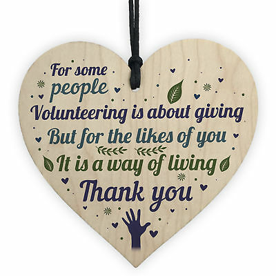 Volunteer Volunteering Thank You Colleague Friendship Gift Wooden Heart Plaque