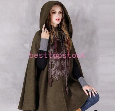 6d02543e286 Womens Wool Blend Cloak Cape Jakcet Winter Coat Goth Punk Hooded Outwear  parka