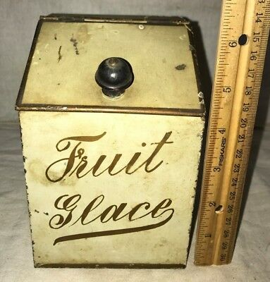 Antique Fruit Glace Candy Vintage Tin Litho Miniature Bin Can Country Store Old