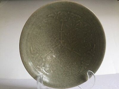 Antique Chinese Pottery Ceramic Relief Molded Bird and Flowers Green Glaze Bowl