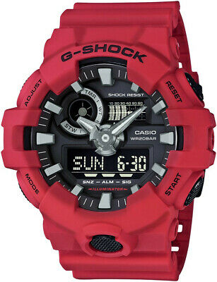 Casio Men's 'G SHOCK' Quartz Resin Casual Watch, Color:Red (Model: GA-700-4ACR)