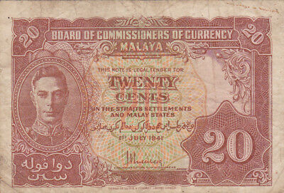 20 Cents Vg- Fine Banknote From British Malaya 1941!pick-9!!!