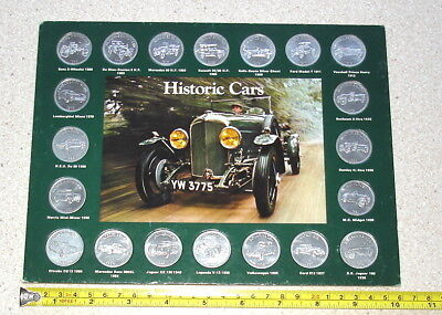 Historic Cars. A complete set of 20 metal coins in folder. Shell Petroleum 1970