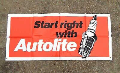 """1986 Vintage BANNER 60"""" x 27"""" AUTOLITE Start right with AUTOLITE! New Old Stock!"""